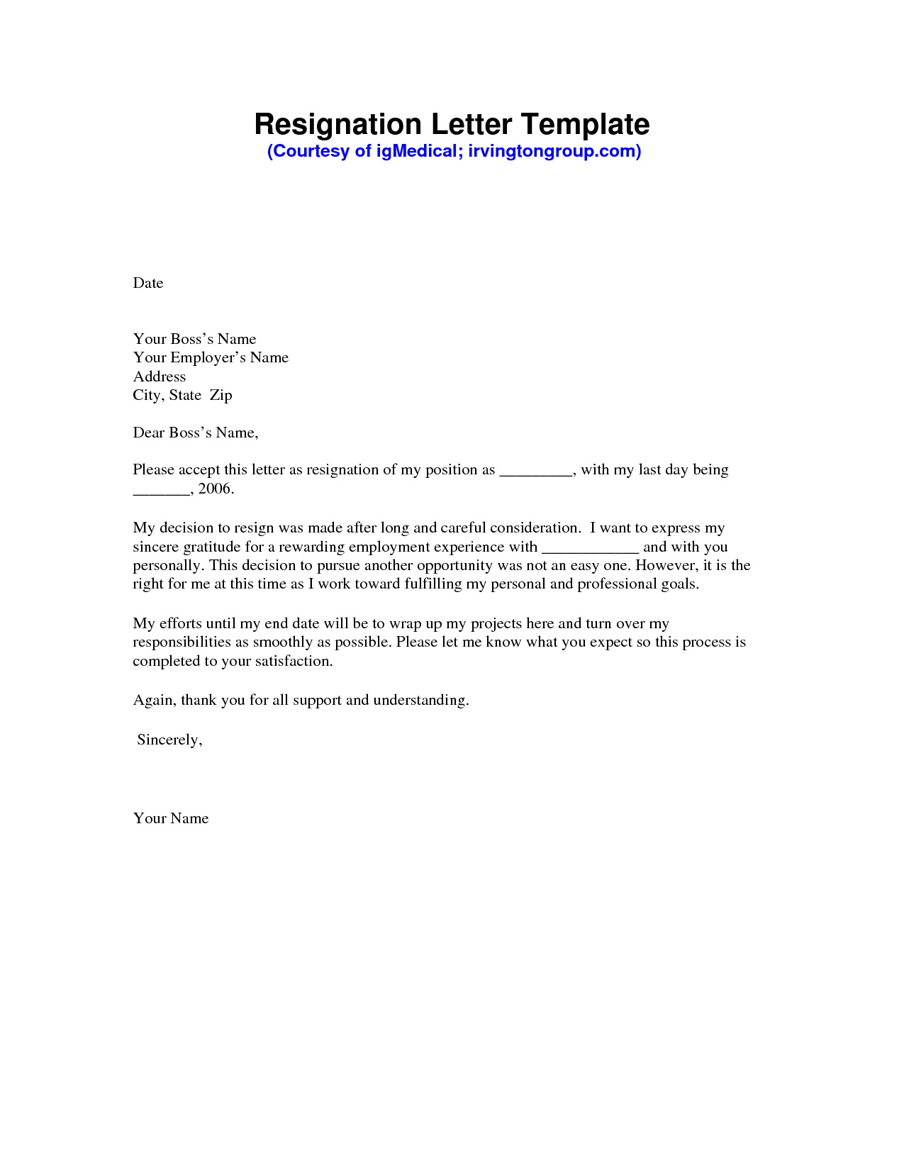 Resignation Letter Template Free Download