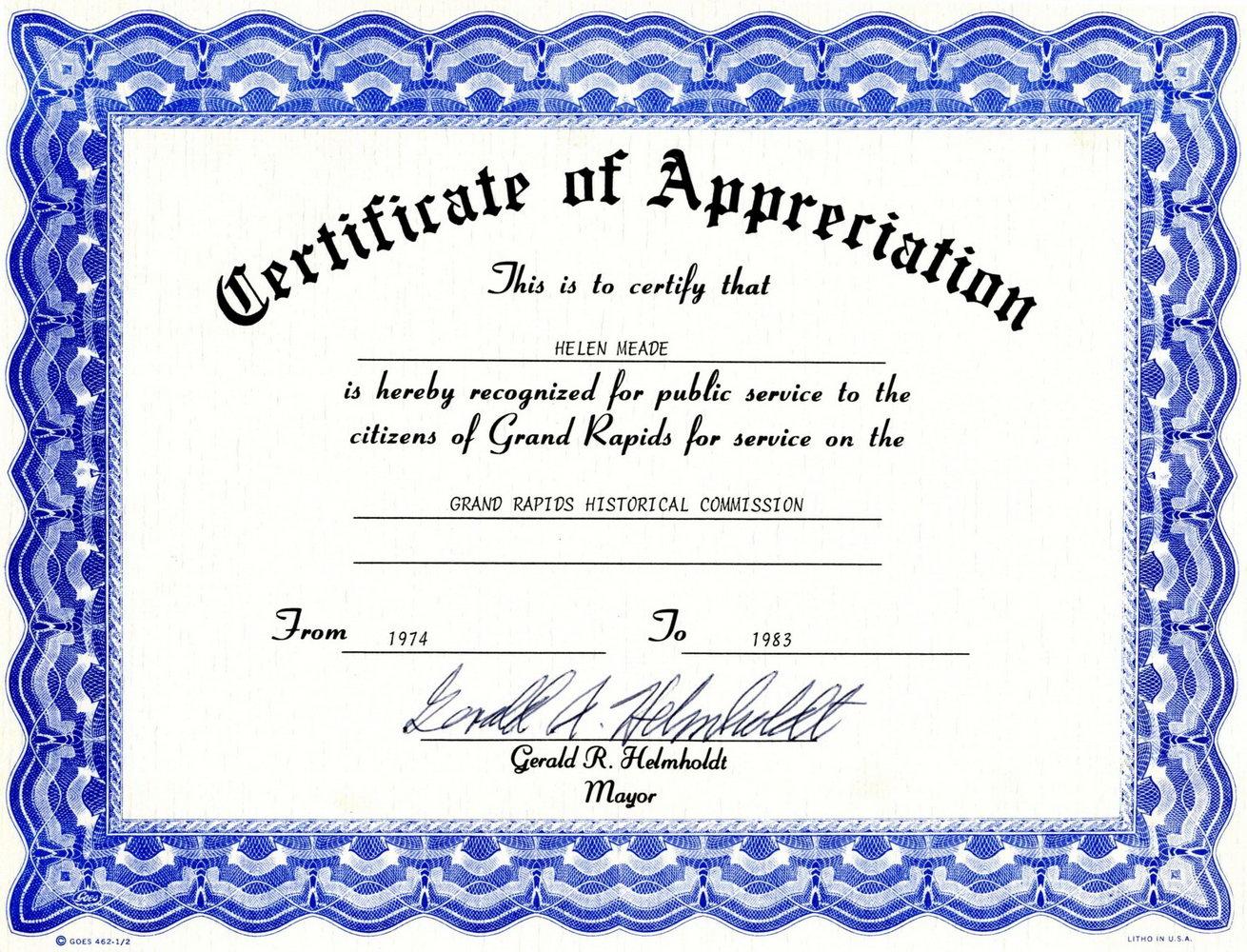 Certificates Of Appreciation Templates Free