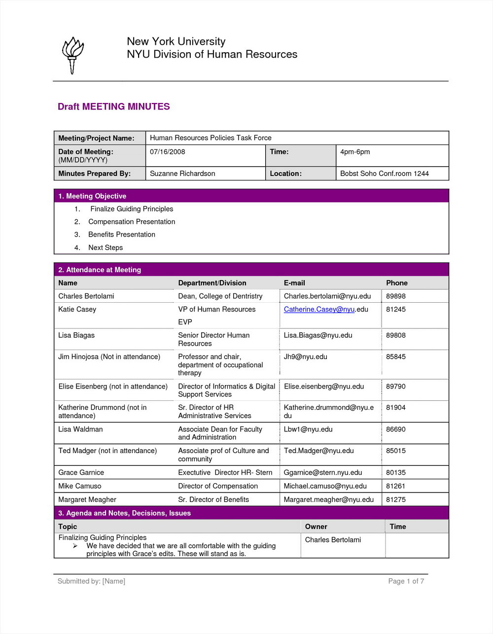 Meeting Minutes Template Doc