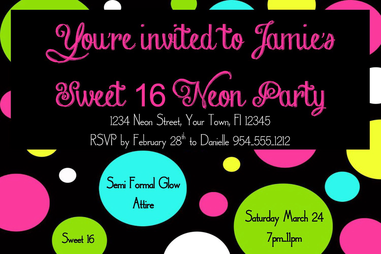 Neon Birthday Party Invitations Templates Free