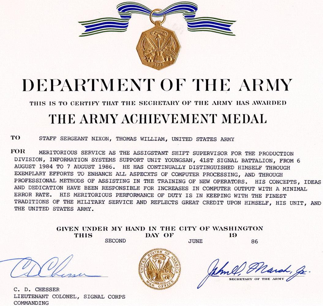 Military Award Certificates Templates