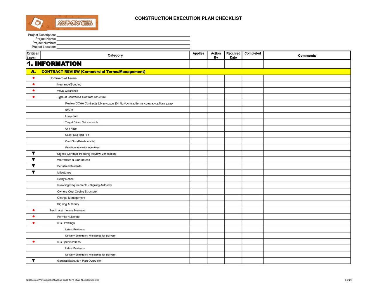 Project Execution Plan Template Excel