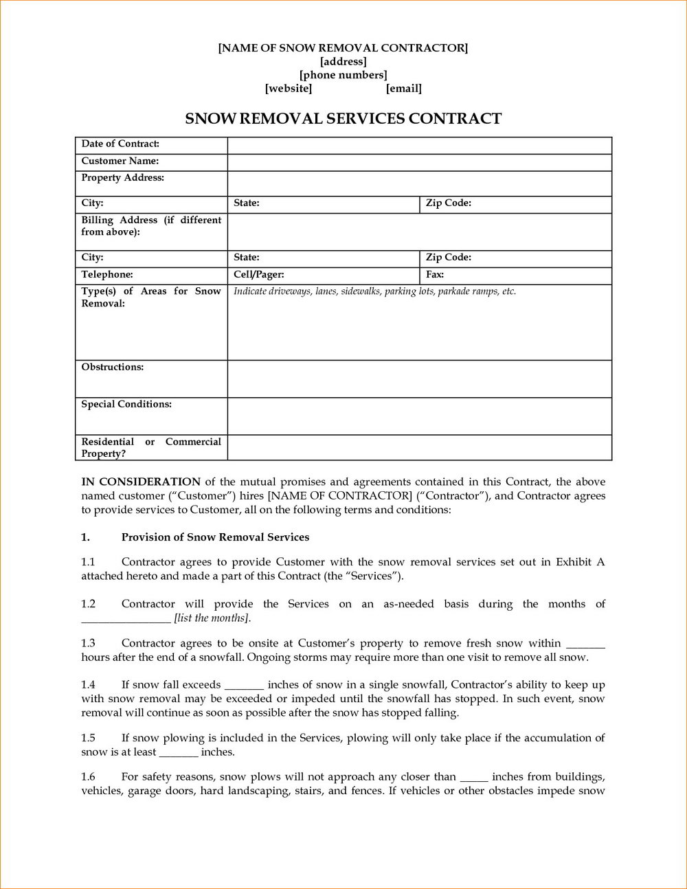 Residential Snow Removal Contract Template