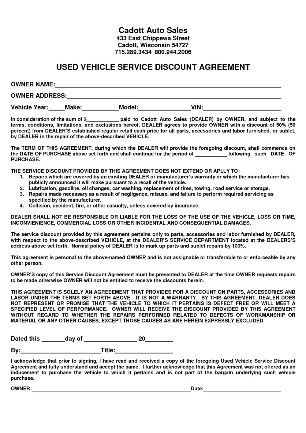Sales Agreement Template Word
