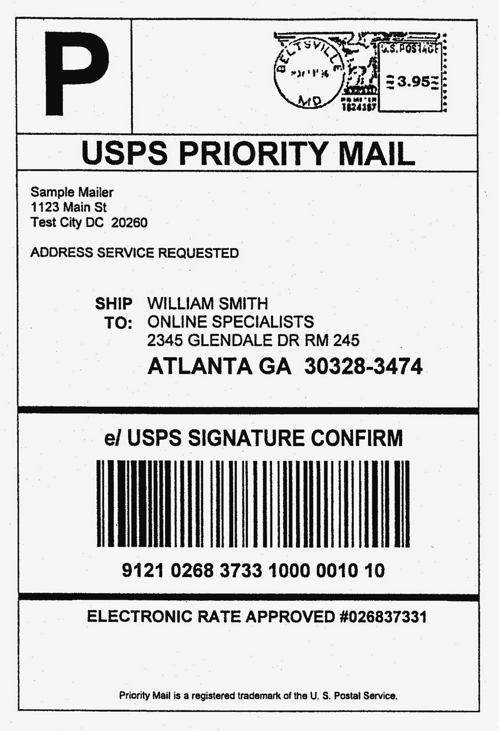Ups Shipping Label Template
