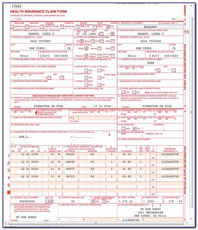 1500 Claim Form Sample