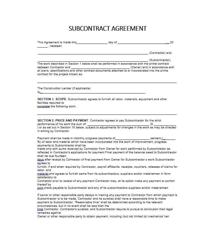 Basic Subcontractor Agreement Sample