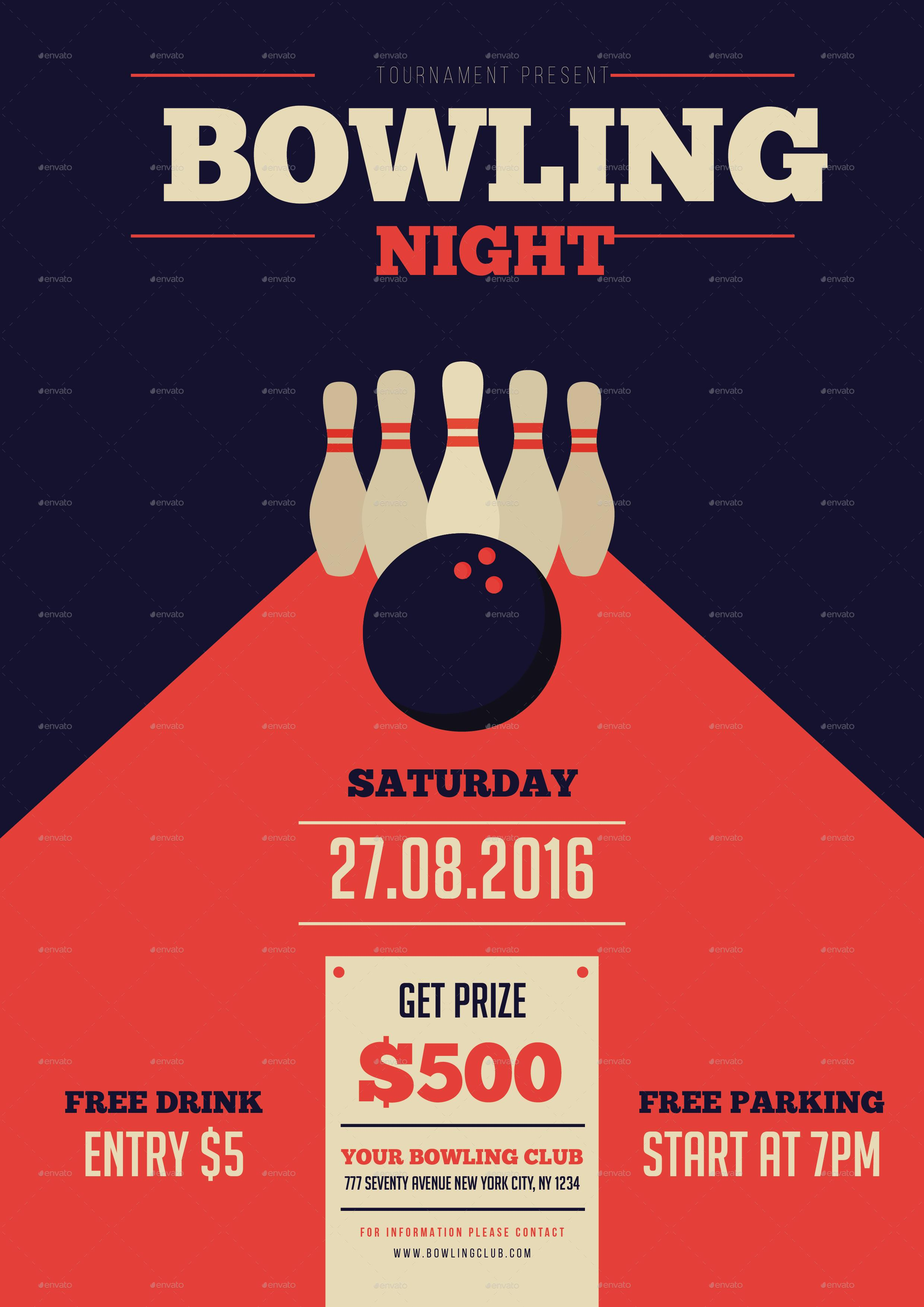 Bowling Night Flyer Template Free