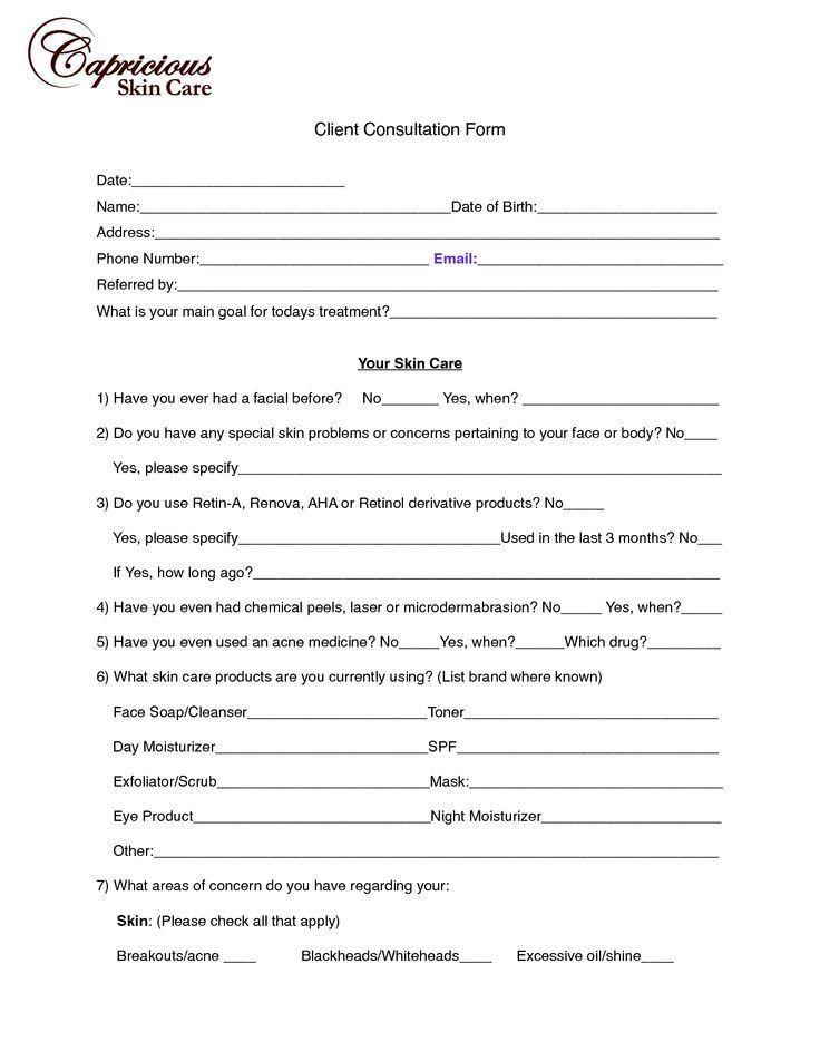 Client Consultation Form Template Massage