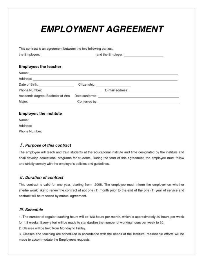 Contract Employee Agreement Sample India
