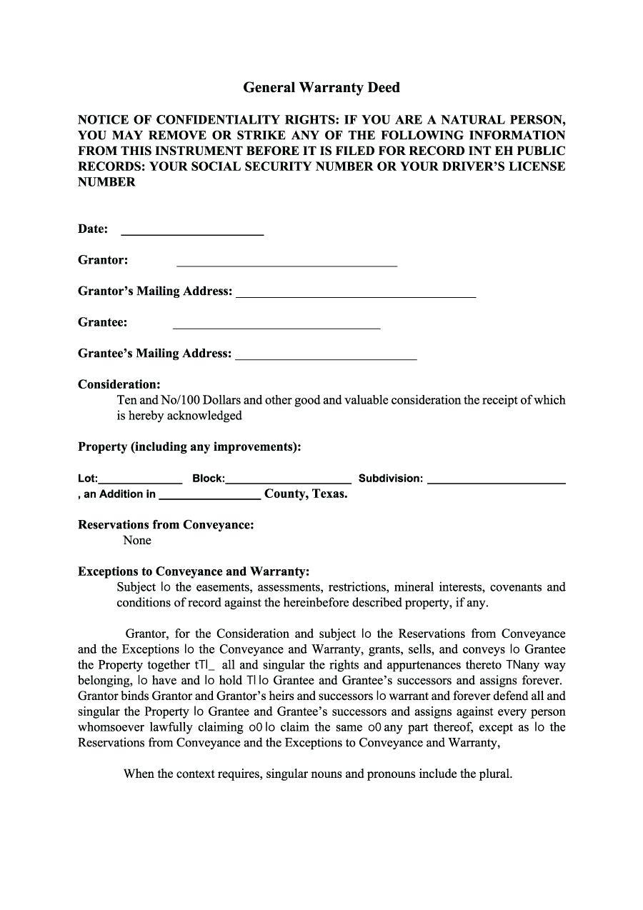 Deed Of Conveyance Form Free