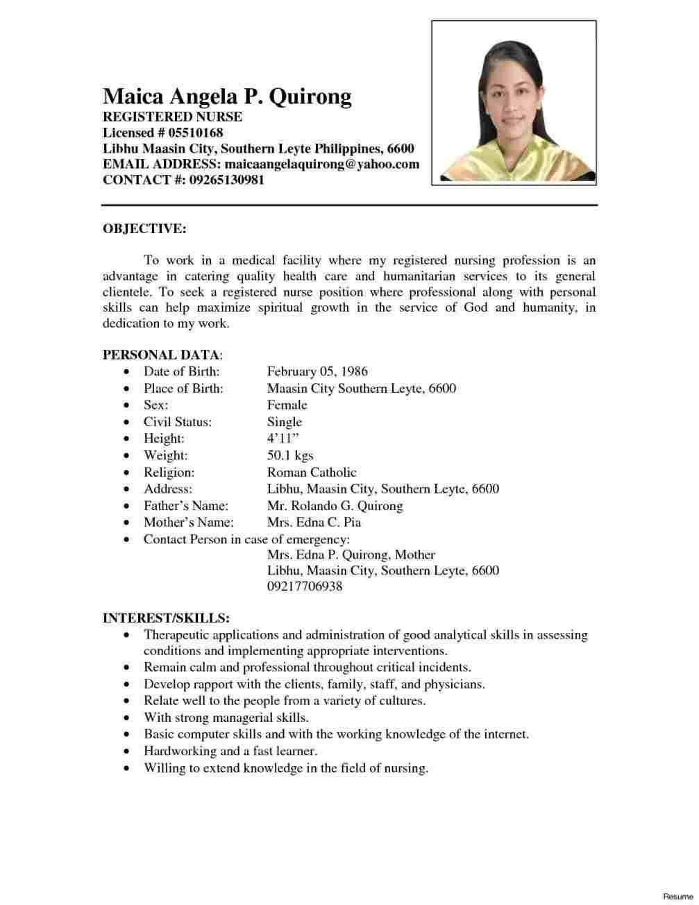 Sample Of Nurse Resume In Philippines