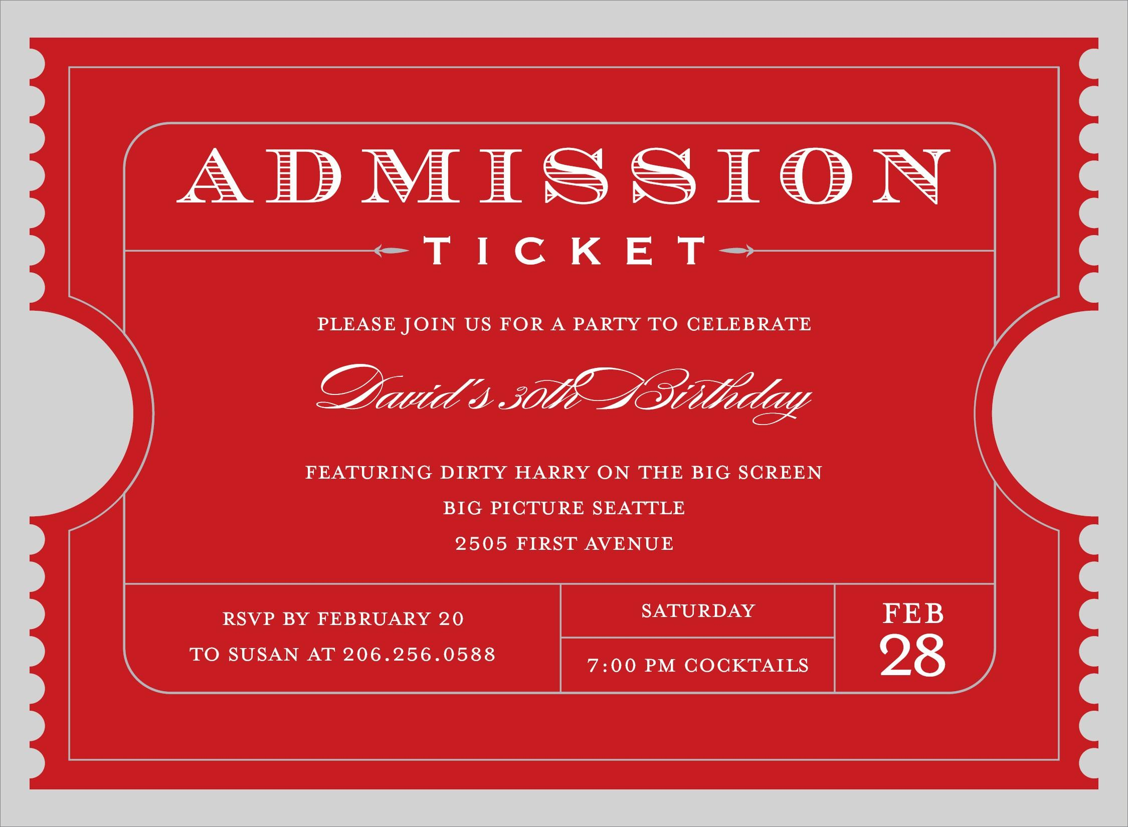 Admission Tickets Template