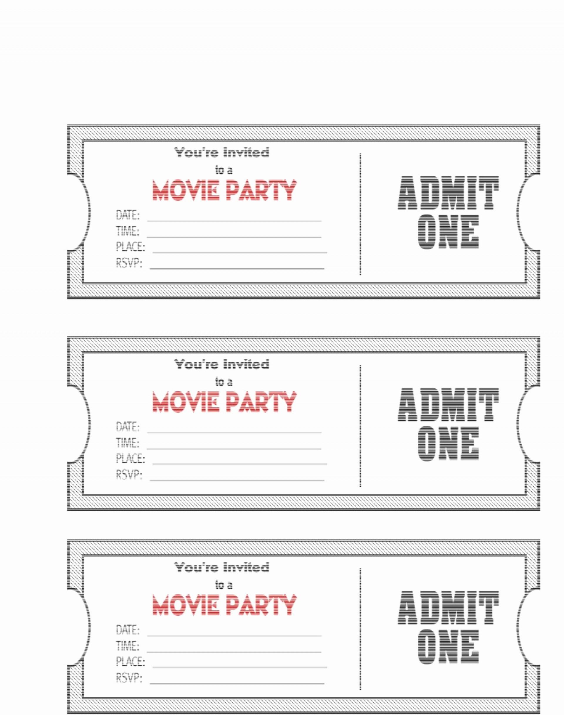 Admit One Ticket Template Printable
