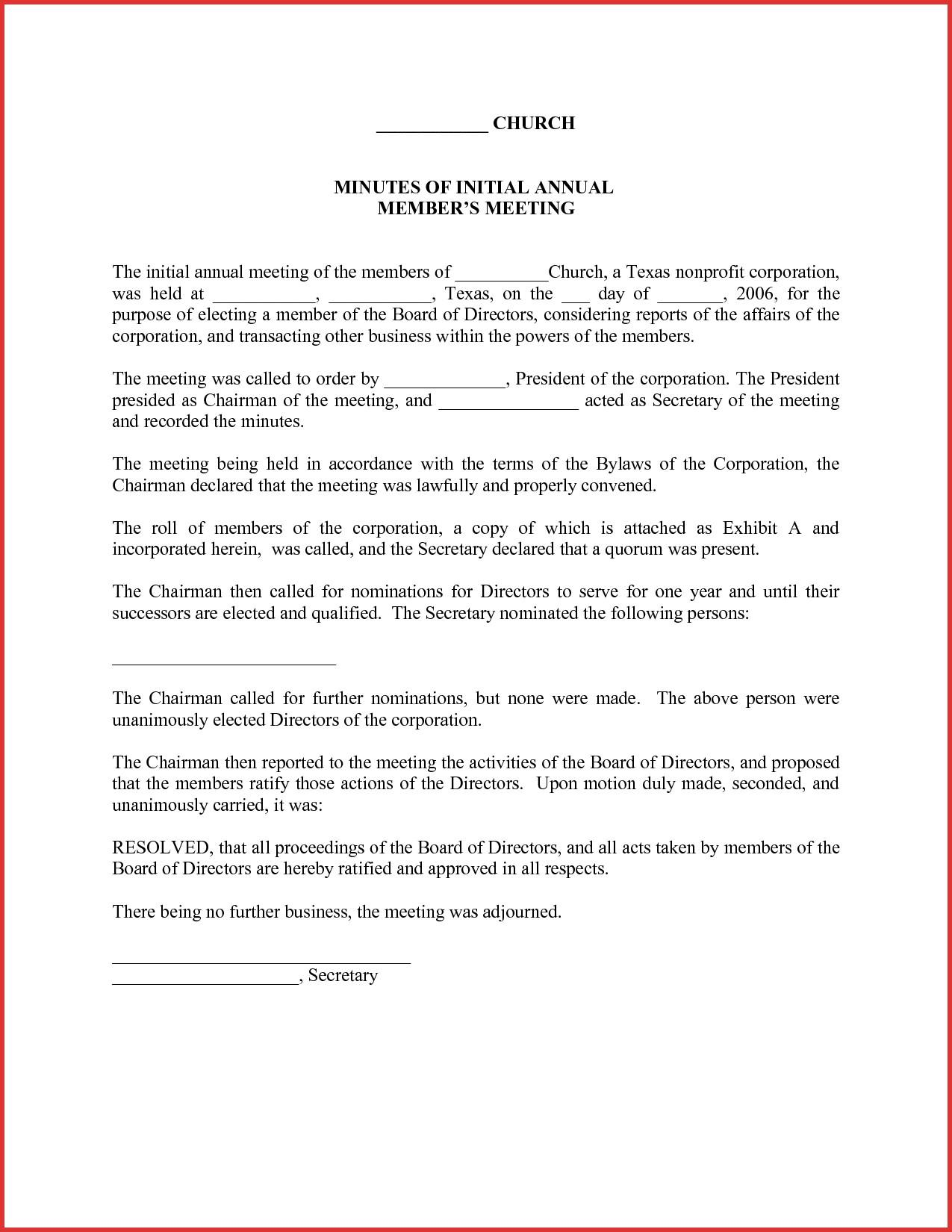 Annual Llc Meeting Minutes Template