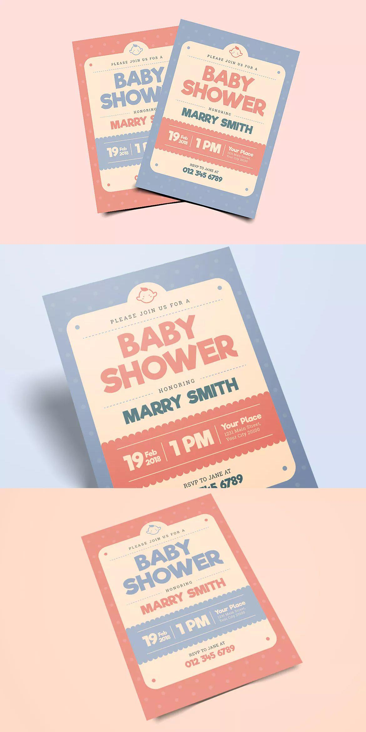 Baby Shower Invite Template Psd