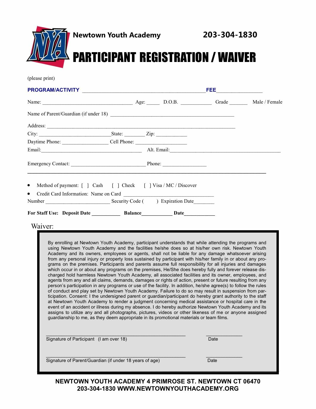 Baseball Registration Form Template