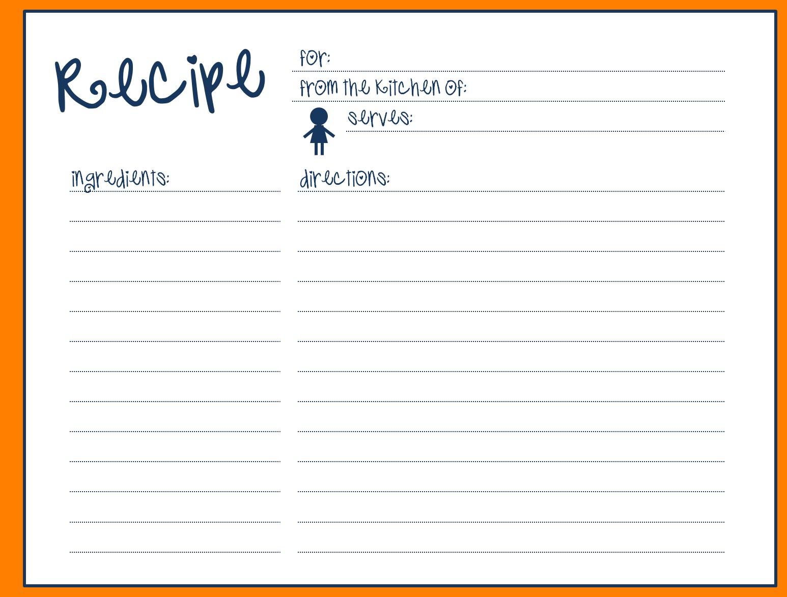 Blank Recipe Card Template Word