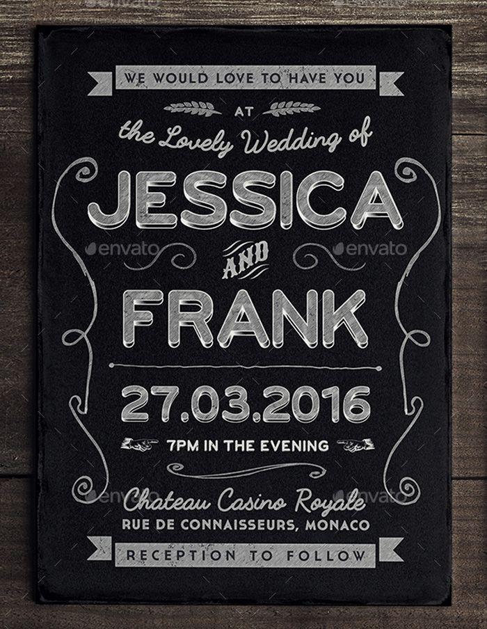 Chalkboard Wedding Invite Template