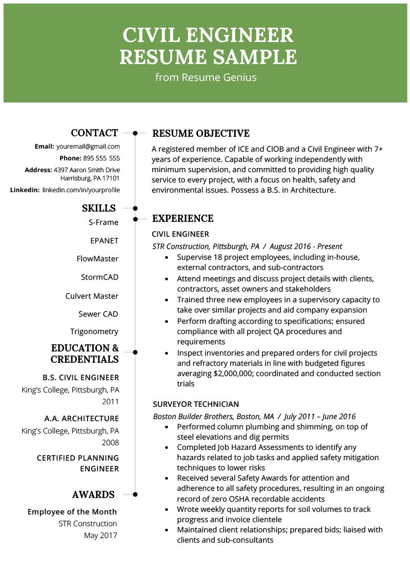 Civil Engineer Fresher Resume Template