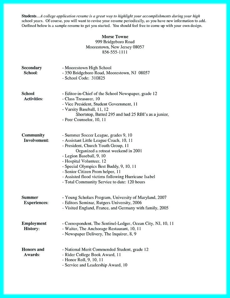 College Resume Template For Highschool Students