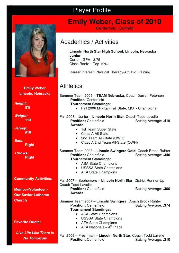 College Softball Recruiting Profile Template