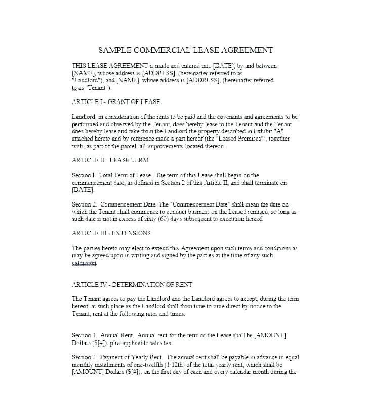 Commercial Lease Agreement Template Nz