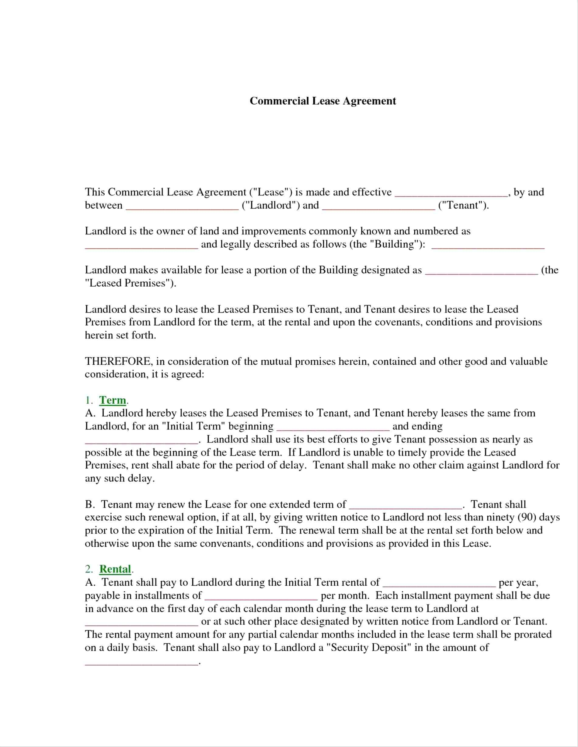 Commercial Lease Template Tasmania