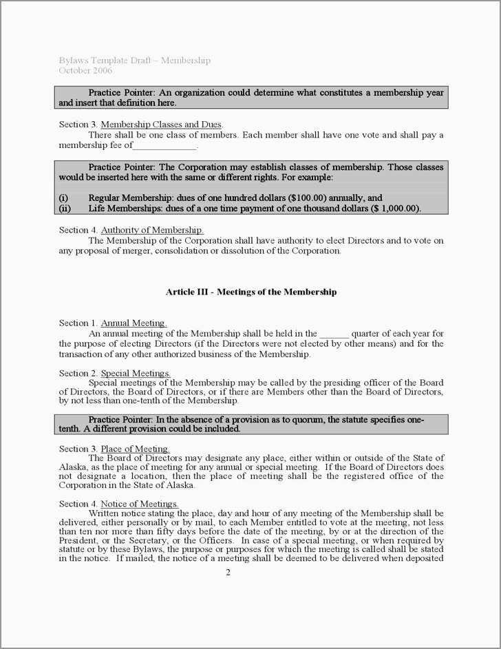 Company Bylaws Template Free