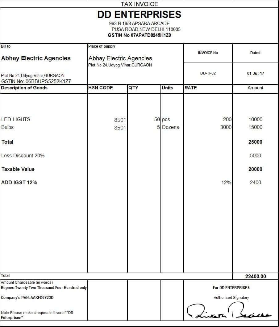 Custom Invoice Format In Gst