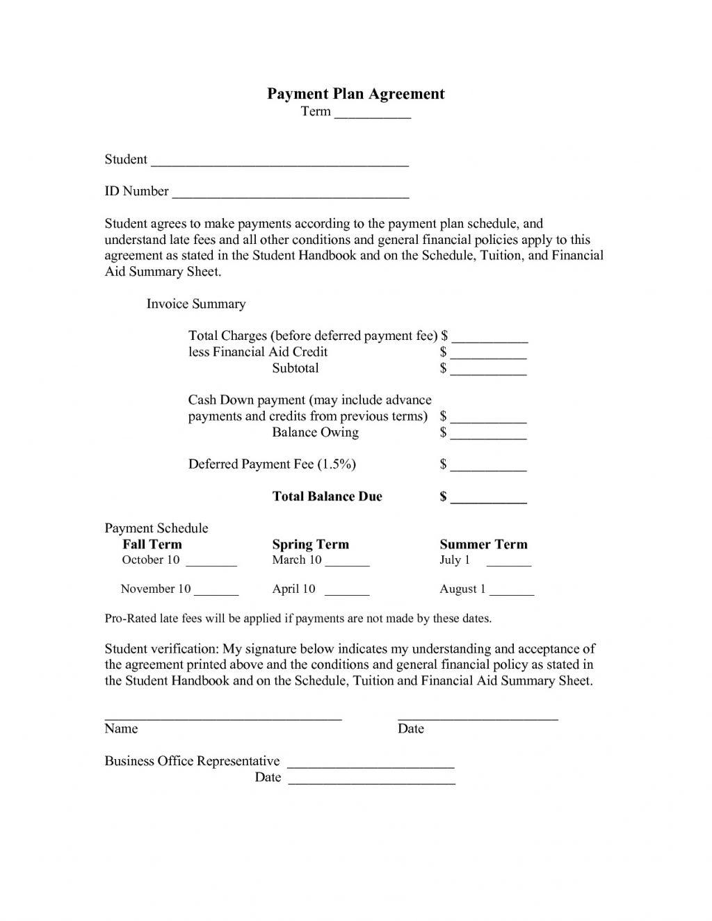 Down Payment Contract Sample