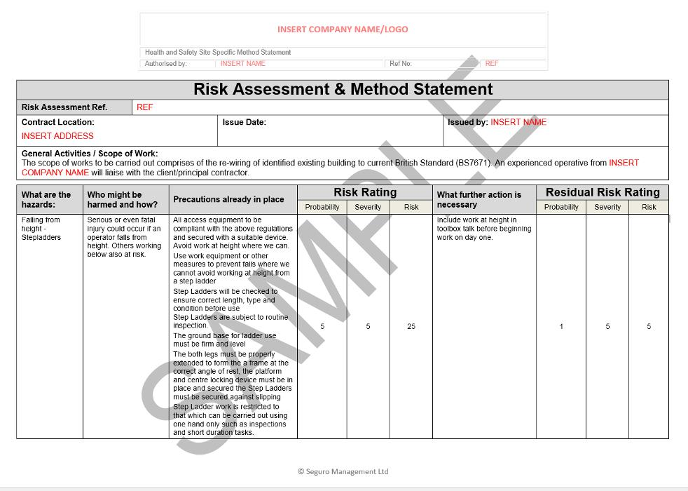Electrical Risk Assessment Template Free