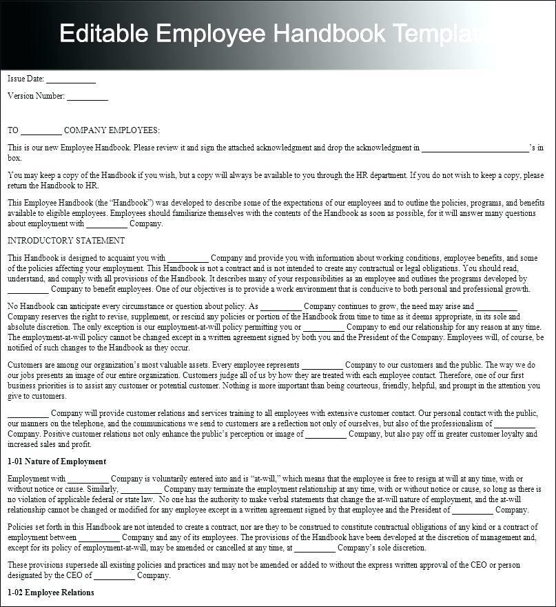 Employee Handbook Examples Canada