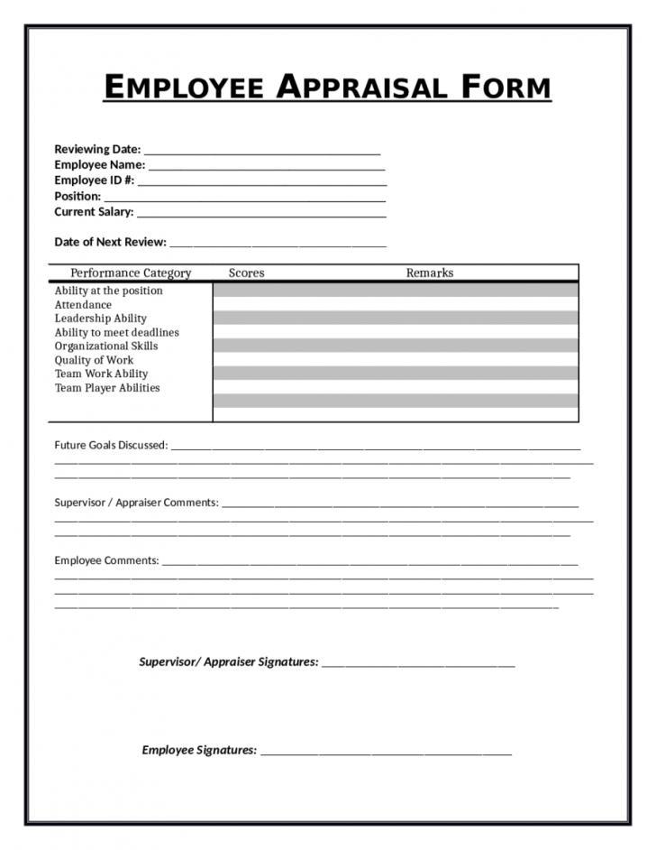 Employee Self Evaluation Form Templates