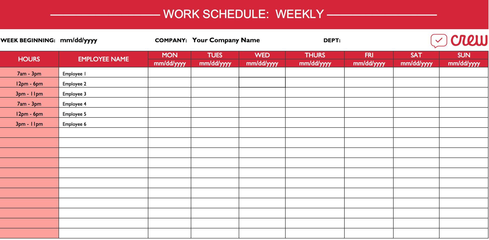 Employee Work Plan Template Excel