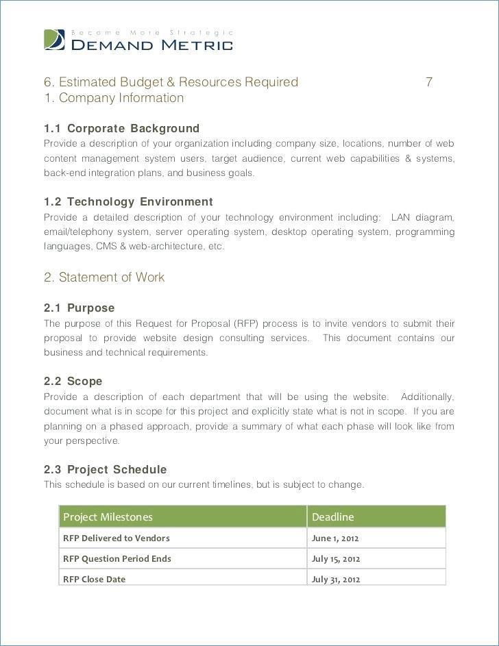 Erp Request For Proposal (rfp) Template