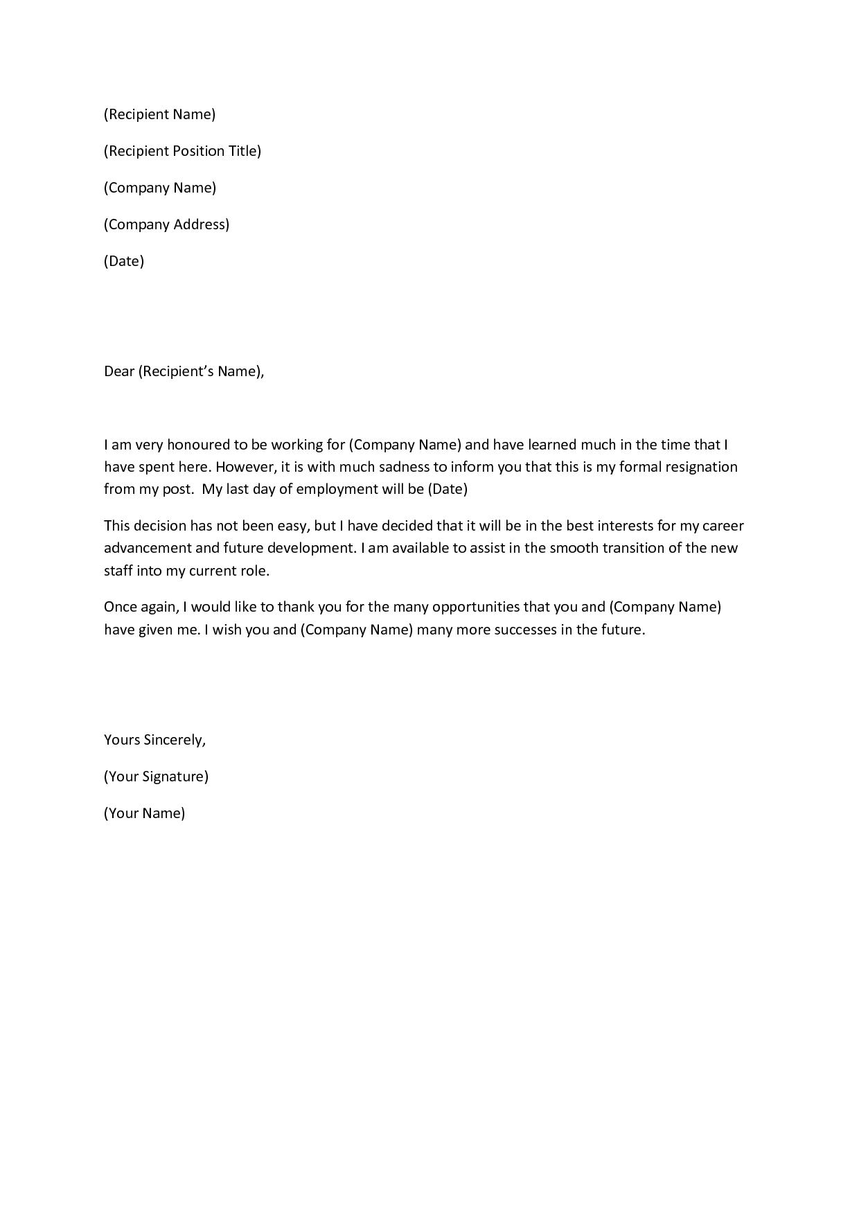 Example Of Letter Of Resignation Template