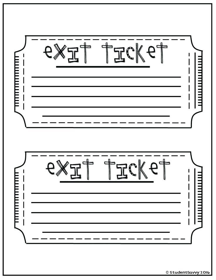 Exit Ticket Template Printable