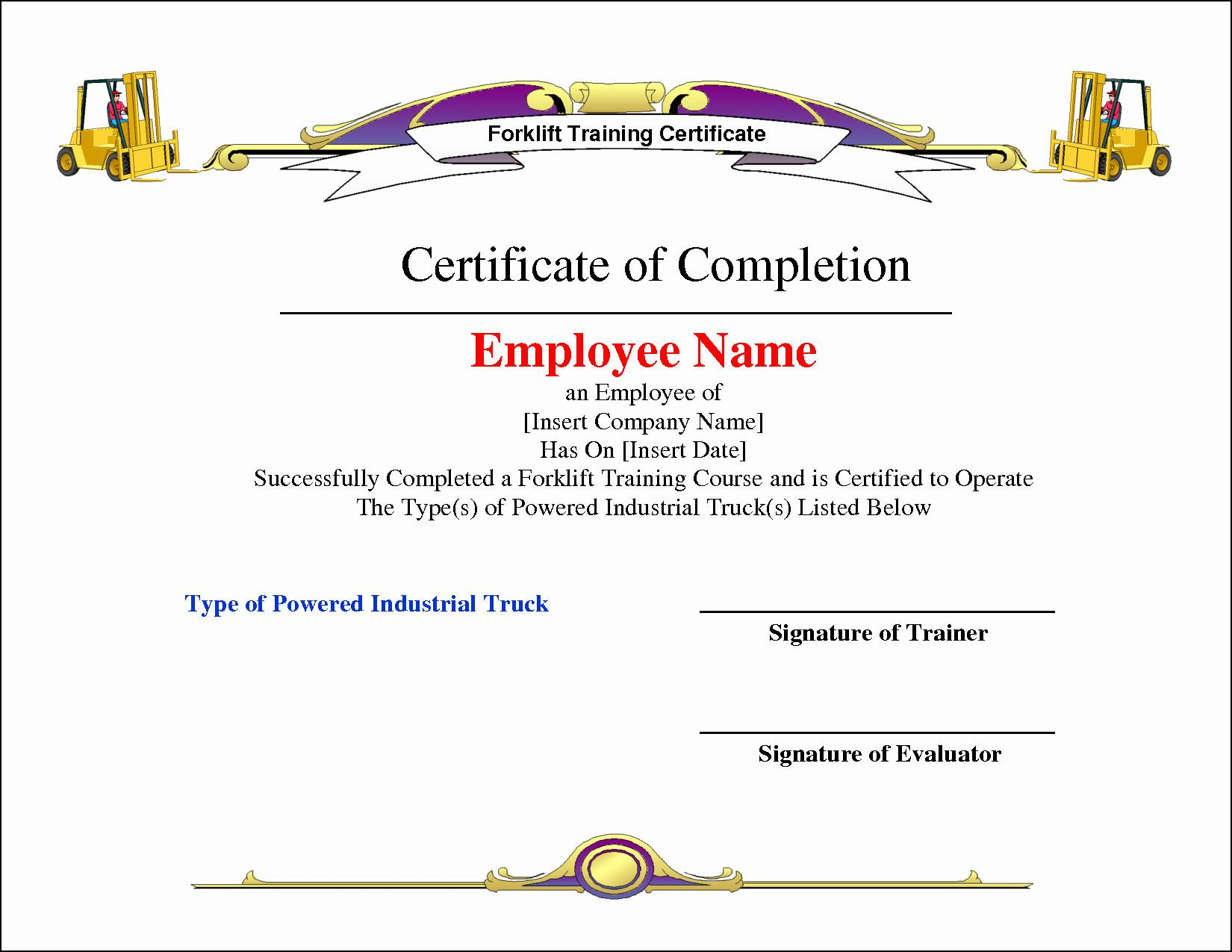 Forklift Certification Card Template