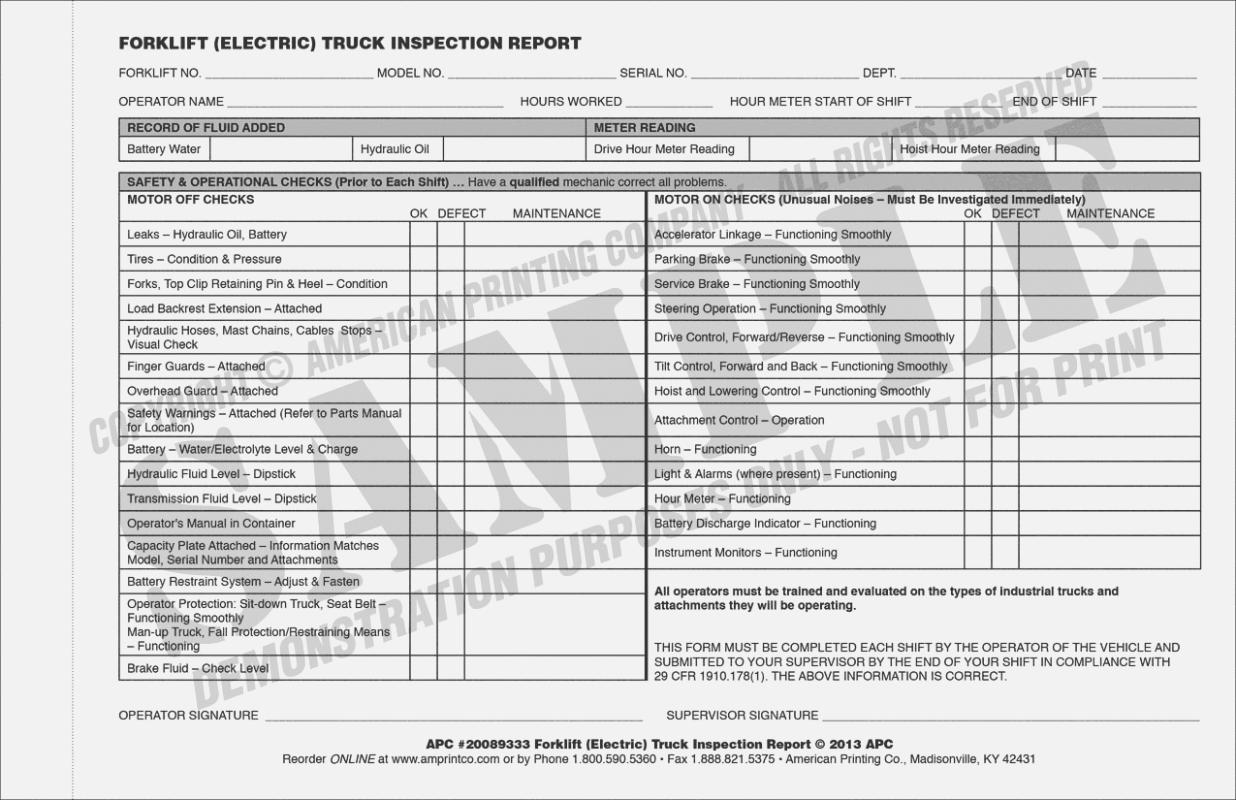 Forklift Inspection Checklist Form