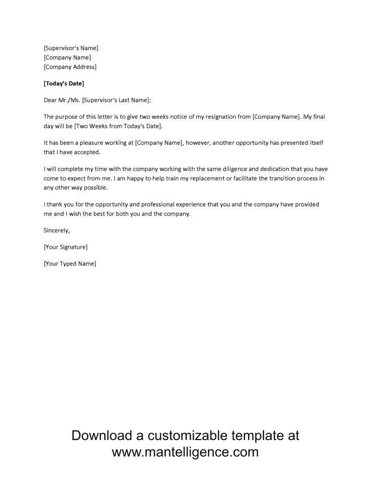 Free 2 Week Resignation Letter Template