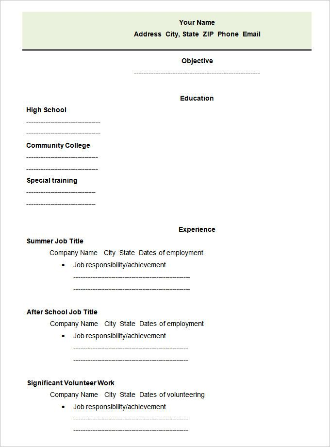 Free Blank Template For Resume