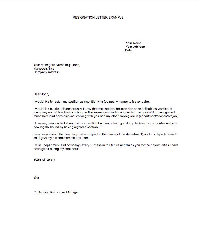 Free Resignation Letter Template Download