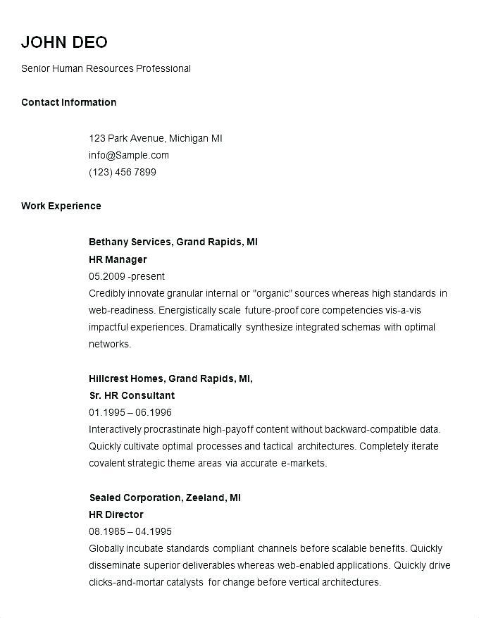 General Resume Outline Template