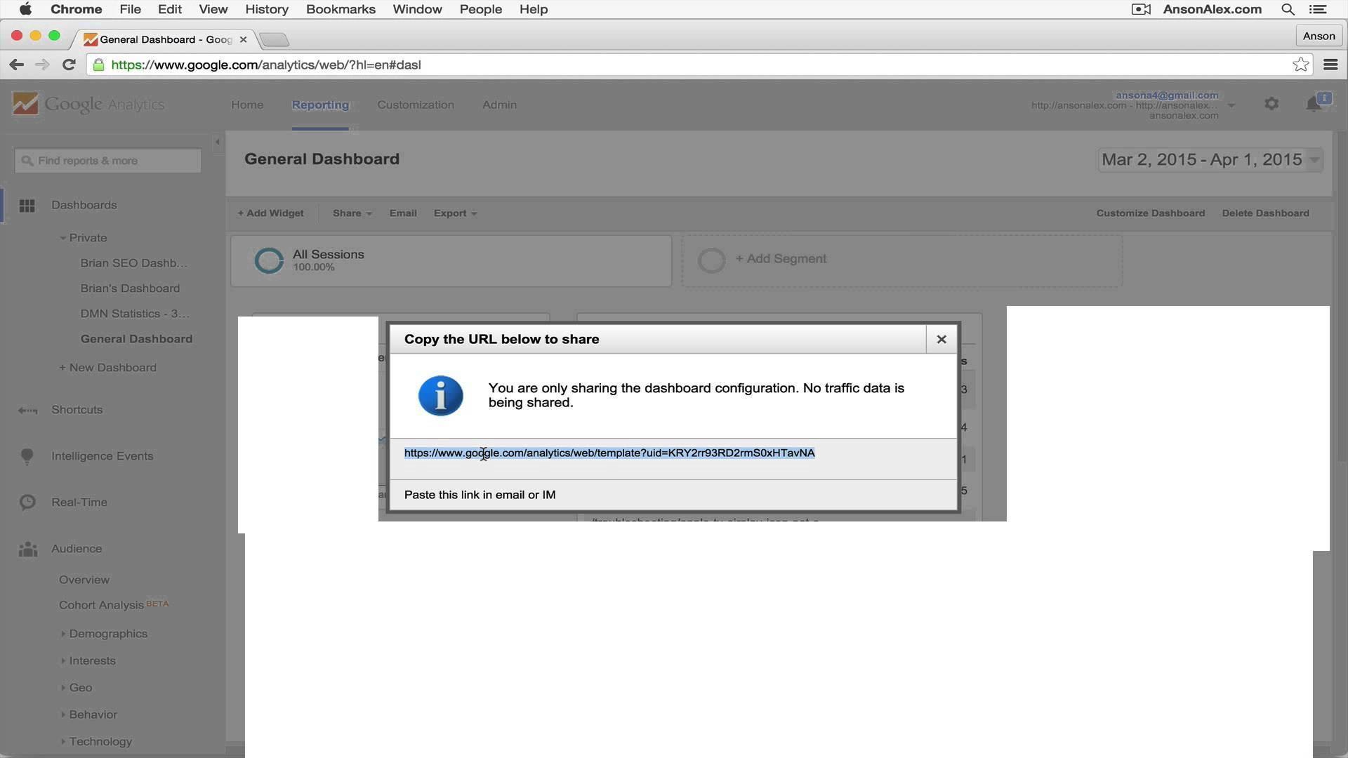 Google Analytics Share Dashboard Template