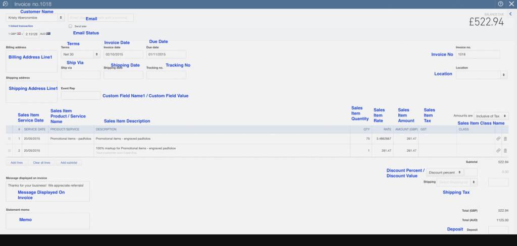 Import Invoice Template Quickbooks Online