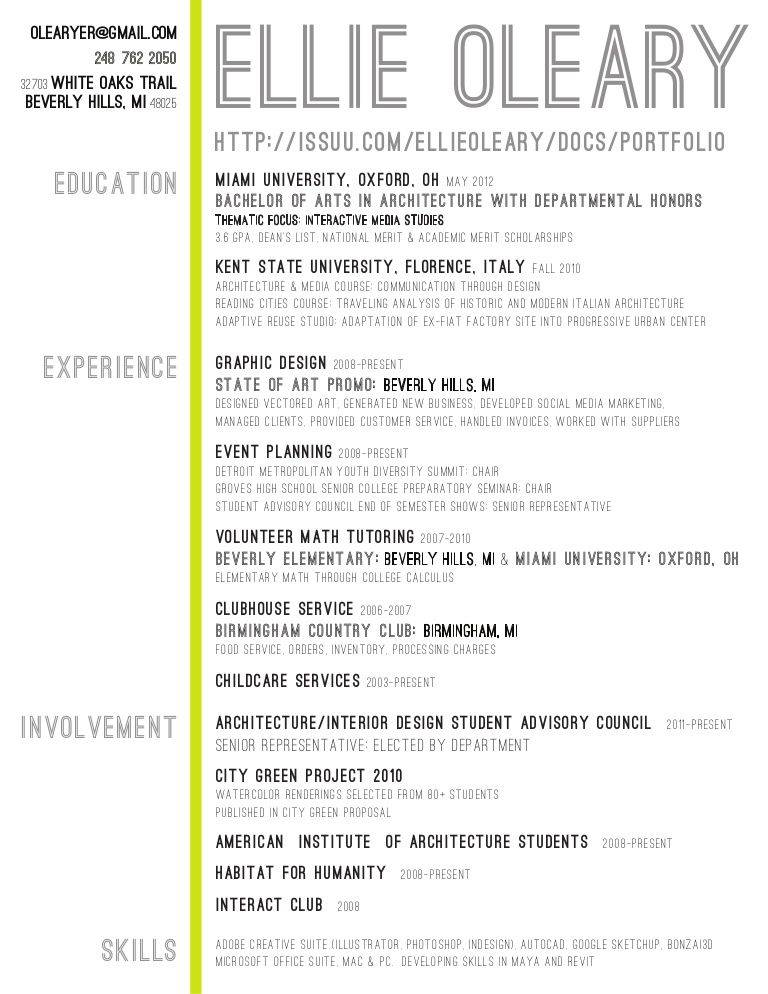 Interior Design Resume Templates