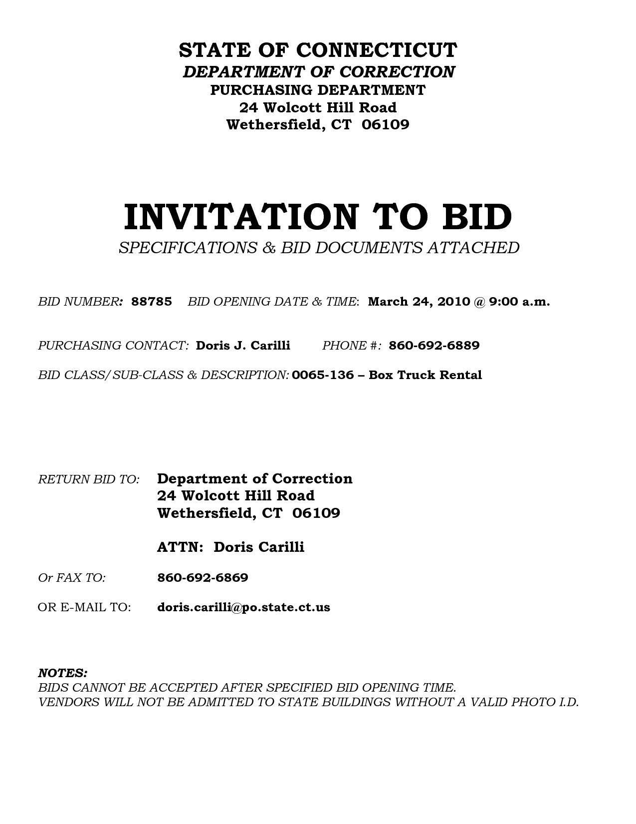Invitation To Bid Template Free