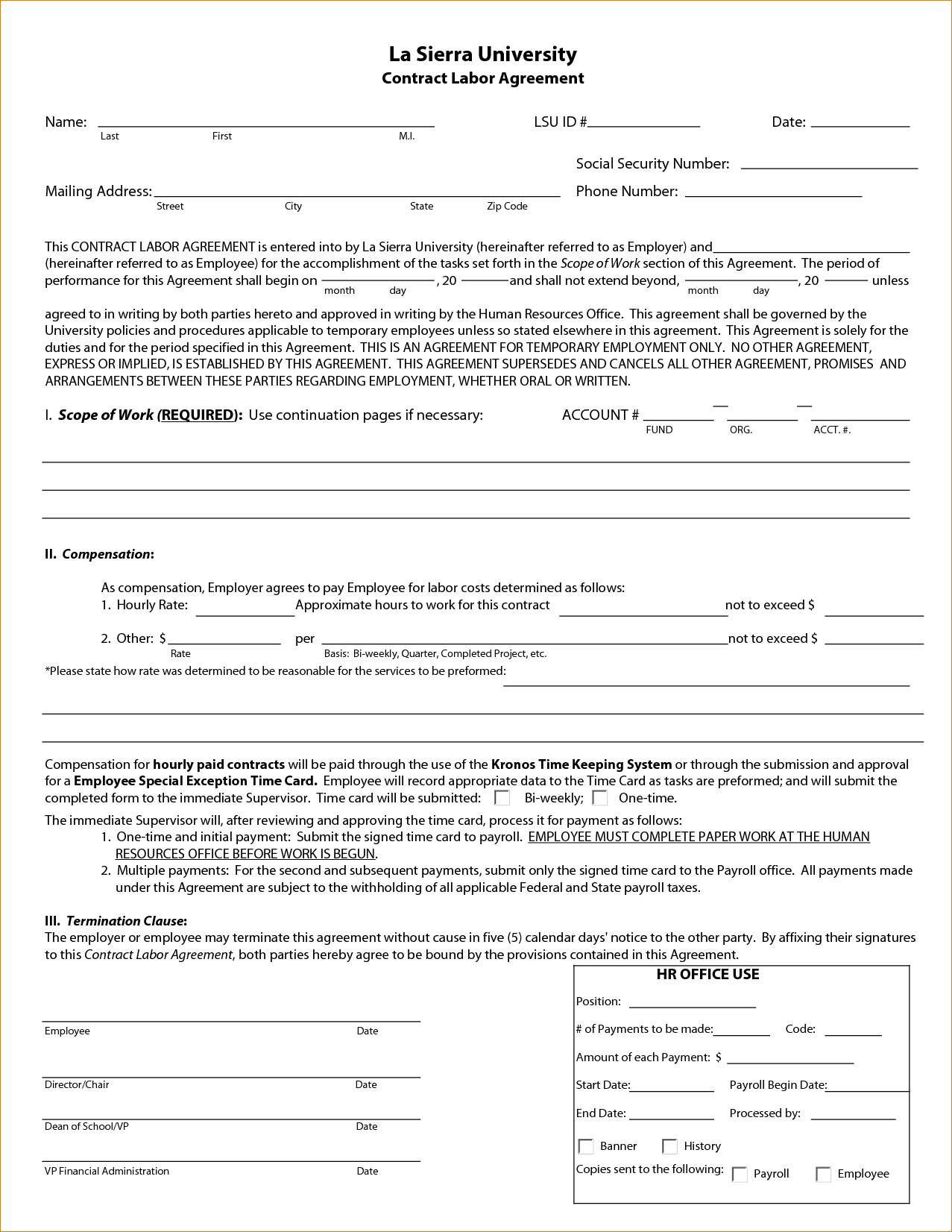 Labor Contract Sample