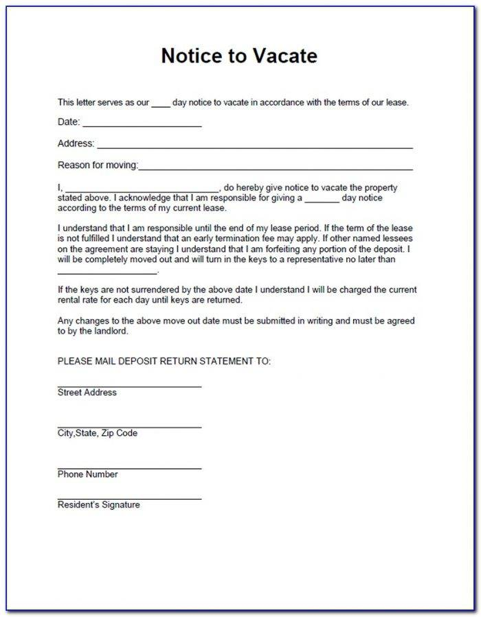 Landlord Notice To Tenant To Vacate Form